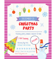 Christmas party funny poster with decorations and vector image vector image