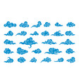 cloud in chinese style abstract blue cloudy set vector image vector image