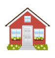 comfortable facade house with brick wall vector image vector image