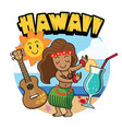 cute cartoon hawaiian girl dancing vector image vector image