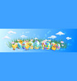 cute chicks with decorative eggs happy easter vector image