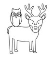 cute reindeer and owl bird woodland characters vector image vector image