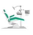 Dental chair with instruments and tools vector image