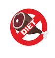 Diet sign logo Meat forbidden sign Cross out ham vector image vector image