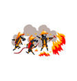 firemen extinguishing fire with firefighting vector image