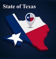 flag state texas usa on map on dark vector image vector image