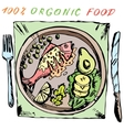 Healthy food Fish on a plate vector image vector image