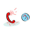 hotline customer service 247 icons set in doodle vector image vector image