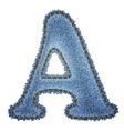 Jeans alphabet Denim letter A vector image vector image
