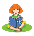 Little girl and a book of fairy tales vector image vector image