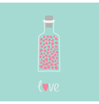 Love bottle with hearts inside Pink and blue Love vector image vector image