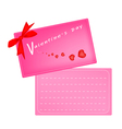 Lovely Pink Valentine Card with Red Ribbon vector image
