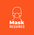 mask required sign with line icon vector image