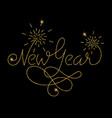 new year glitter golden hand lettering vector image vector image