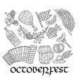 octoberfest beer festival doodle hand drawn set vector image vector image