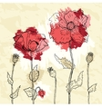 Red poppies on a crumpled paper background vector image vector image