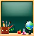 School tools on green blackboard background vector image