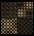 set four dark seamless flower patterns in vector image vector image