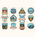 set mountain expedition and summer camp patches vector image vector image