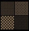set of four dark seamless flower patterns vector image vector image