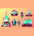 set of future space exploring cartoon icons vector image