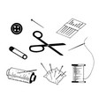 simple set of sewing related line icons vector image