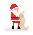 surprised santa claus with wish list vector image