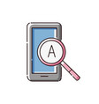 tablet icon with magnifying glass with an english vector image vector image