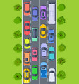 traffic jam top view trucks and cars on highway vector image