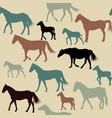 vintage background with horses silhouettes vector image