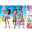 women in summer dresses vector image