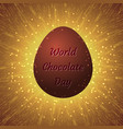 world chocolate day 11 july chocolate egg with an vector image vector image