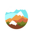 flat round icon of natural landscape with vector image