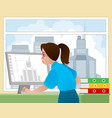 girl architect in the workplace vector image