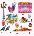hand drawing and watercolor set of venice sketch vector image
