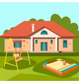 children playground in outside house vector image