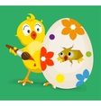Yellow chicken colors easter egg vector image