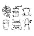 Coffee vintage hand drawn sketch set vector image