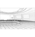 3d outline interior rendering of vector image