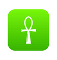 ancient egyptian cross ankh icon green vector image vector image