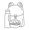 backpack milk burger icon outline style vector image vector image