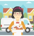 Baker delivering cakes vector image vector image