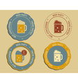 Beer party logo and badge templates with glass of vector image vector image