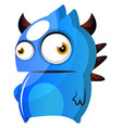 blue monster with horns on white background vector image vector image