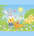 bunny with a handcart of painted easter eggs vector image vector image