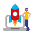 businessman laptop and rocket business vector image