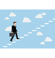 Businessman stepping up a staircase and sky vector image vector image