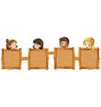 children holding blank wooden boards vector image vector image