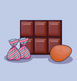 chocolate bar with candies icon vector image