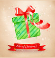 christmas postcad with green color gift box vector image vector image